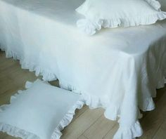 Ruffled Linen Bedding   Handcrafted by Superior Custom Linens