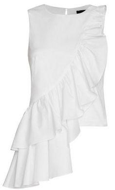 francis poplin ruffle top (Intermix) - Luxe Fashion New Trends - Fashion for JoJo Fashion Details, Fashion Design, Fashion Trends, Mode Top, Mode Vintage, Ruffle Top, Ruffles, White Tops, White White