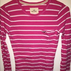 Hollister long sleeve shirt Pink and white striped Long sleeved shirt size XS Hollister Tops Tees - Long Sleeve