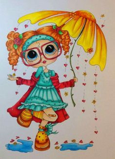 quenalbertini: Girl with glasses Girls With Glasses, Coloring Book Pages, Copics, Digital Stamps, Big Eyes, Rock Art, Adult Coloring, Cute Art, Paper Dolls