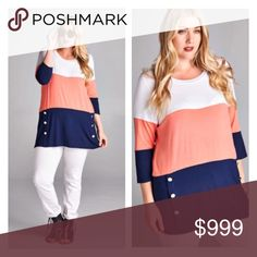 Coming soon! (Plus) Colorblock top Coming soon! Estimated date of posting: September 18.   Please like this listing to be notified via price drop when it becomes available for purchase.   This will be available in 1x-3x  🚫Current listed price is not what this will be listed at. 🚫 Tops Tees - Long Sleeve