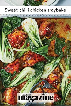 This easy Asian-inspired chicken traybake recipe with pak choi has a tasty sticky sweet chilli sauce. Ready in 30 minutes, it's a fantastic family midweek meal. Get the Sainsbury's magazine recipe Quick Snacks, Quick Easy Meals, Curry In A Hurry, Tray Bake Recipes, Sweet Chilli Sauce, Midweek Meals, Dairy Free, Gluten Free, Easy Chicken Recipes