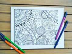 Zentangle Coloring Book  NINE Zentangle Inspired by TheTangledCat, $12.75