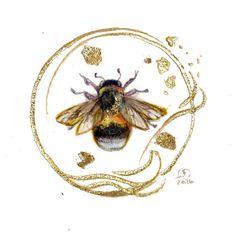 Another one of my mini #bumblebee #paintings #goldleaf #bee #pollinators #beautifulbugs #inspiredbynature #insects #watercolorart #watercolor #instaartwork #instaartist #instadaily #instagood #instaart #artistsofinstagram #beautiful