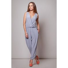 e07177e15be5 Grey Jumpsuit With Shirred Waist LAVELIQ Playsuit