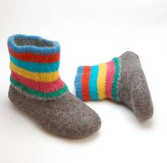 Felted wool slipper boots - multi colored stripe shoes - 100% wool felt boots