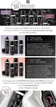 www.biocosmo.it   COUPON 50: The first 100 Customers will have 50% off on all products of BIOCOSMO Laboratoire Dermatologique.
