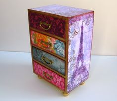 Eiffel Tower Purple Paris Jewelry Box Jewelry by MyButterflySister, $110.00