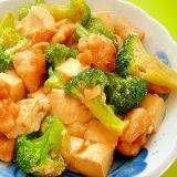 豆腐とブロッコリー鶏肉のオイスター炒め煮
