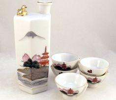 Vintage Kamotsuru porcelain whistling bird sake decanter with cups - Other