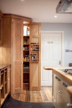 Traditional Corner Pantry. In an older home, a corner pantry may be a built-in affair with a single door, similar to a regular kitchen pantry, just situated in a corner of the room.