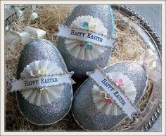 vintage inspired glittered egg ornaments