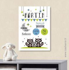 Affiche naissance bébé, cadeau de naissance garçon personnalisé, tableau chambre bébé enfant, animaux - Fichier Imprimable - n°11 : Chambre d'enfant, de bébé par cashemir