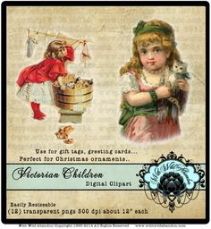 Victorian Children Clipart Little Girl Clipart by withwildabandon