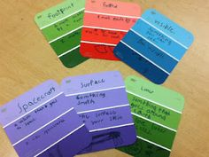 Other Ideas to use these paint chips for:  -Dictionary Skills  -Grammar sentences  -life cycle  -main idea  -math fact families  -expository or sequence writing  -place value