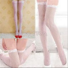 One Size Hot Style Attractive Women Stockings Hosiery Above Knee Nylon Hollow Out Mesh Long Stockings Women Black White Red Pink