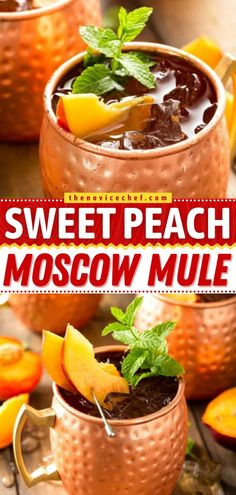 A favorite cocktail gets a fruity twist! Full of fresh peach flavor, this easy Moscow mule recipe is incredibly delicious and refreshing. Check out how to make a pitcher of this alcoholic drink! Iced Tea Recipes, Easy Drink Recipes, Punch Recipes, Alcohol Recipes, Slushie Recipe, Soda Recipe, Easy Cocktails, Cocktail Recipes, Easy Family Meals
