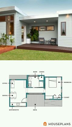 modern inlaw cabin floor plan and elevation plan number
