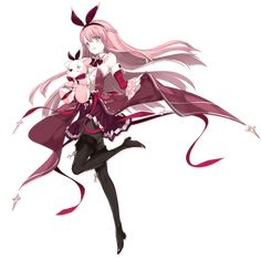 """Kou is one of the Partners in Arcaea. She is unlocked by purchasing the Crimson Solace pack in the """"Side Story"""" section. Girl Anatomy, Anatomy Poses, Pretty Anime Girl, Beautiful Anime Girl, Red Hair Band, Character Concept, Character Design, Light Pink Hair, Naruto"""
