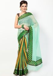 this beautiful green coloured saree from the house of Bunkar. Its charming zari work and stripe pattern accentuate its elegant appeal, while the Chanderi cotton fabric assures pure comfort. This saree measures 6.3 m, including a 0.8 m blouse piece.