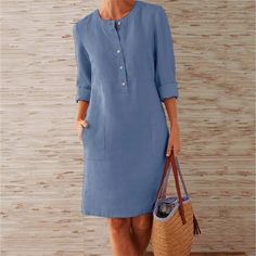 Buttoned Down Pockets Plus Size Dresses Shop Causal Dresses - Shift Casual Causal Dresses online. Casual Dresses, Fashion Dresses, Hijab Casual, Casual Chic, Casual Pants, Mode Abaya, Long Sleeve Midi Dress, Sleeved Dress, Button Dress