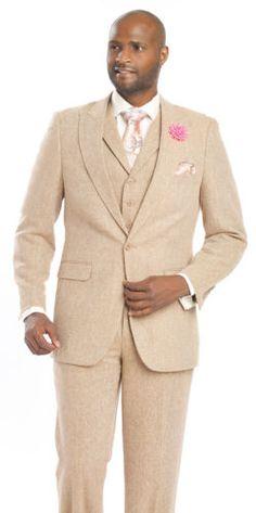 New-Designer-Wool-3-Piece-Beige-Mens-Wear-Dress-Suit-M2693-Tan-EJ-Samuel-Brand