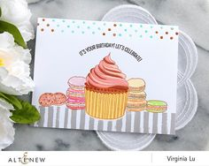 Altenew Layered Cupcakes stamp set + Handmade Tags card by Virginia Lu