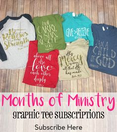 Months of Ministry Tee Subscription Craft Business, Business Ideas, One Faith Boutique, Bible Lessons For Kids, Walk By Faith, Boutique Tops, Trendy Clothes For Women, Everyday Fashion, Graphic Tees
