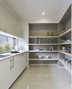 Love the darker paint colour inside the pantry shelving