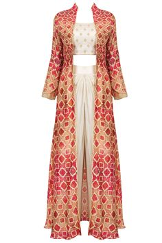 Anoli Shah presents Off white embroidered crop top and dhoti pants with red printed jacket available only at Pernia's Pop Up Shop. Indian Gowns Dresses, Indian Fashion Dresses, Indian Designer Outfits, Designer Dresses, Fashion Outfits, Designer Clothing, Indian Outfits, Stylish Dress Designs, Stylish Dresses