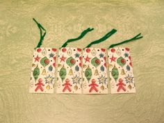 Four unused Hallmark Christmas ornaments decorations bridge tally tallies by BigGDesigns on Etsy