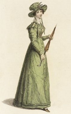 1825 April 1st. London.   Moss green, long sleeved, Morning Dress. Fabric covered hat to match. Bronze parasol.  Rudolph Ackermann Fashion Plate collections.lacma.org