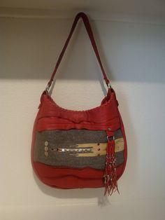 Beaded Boho Rustic Red Leather Purse by DiamondArrowLeathers