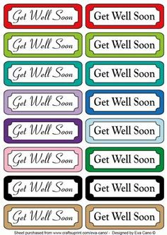 Get Well Soon tags on Craftsuprint designed by Eva Cano - 16 Get Well Soon horizontal tags for Male and Female occasions to add to your cards. Please have a look at my other designs by clicking on my name. - Now available for download!