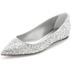 Casadei ballet flats cut from shimmering, glitter-coated fabric. Pointed-toe profile. Metallic piping at top line. Calfskin lining and leather sole. Fabric: Co…