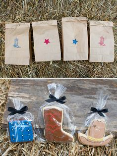 Western themed cookie favors for A Family Hoedown Birthday Party