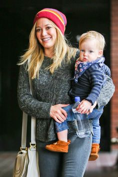 Lizzie McGuire star Hilary Duff stepped out with her son Luca, 1, in Sherman Oaks, Calif. on Wednesday (April 24). While the actress wore a colorful beanie and skinny jeans, her sweet tot stole the show in a striped top, comfy mocassins and stylish bandana.