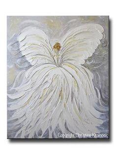 GICLEE PRINT Abstract Angel Painting White Grey Gold Guardian Angel Canvas Print Spiritual Wall Art - Christine Krainock Art - Contemporary Art by Christine - 1