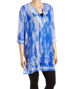 Look what I found on #zulily! CLUB Z Royal Semisheer Lace-Accent Three-Quarter Sleeve Tunic - Plus by CLUB Z #zulilyfinds