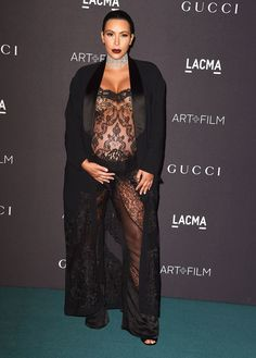 Kim Kardashian wore a lacy Givenchy jumpsuit to the LACMA gala in L.A.