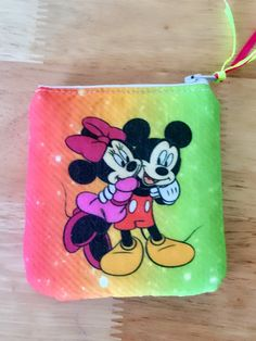 Mickey and Minnie zipper pouch, Disney purse, small coin purse, makeup bag, wristlet, Choose your style! by PopThree on Etsy https://www.etsy.com/listing/502380643/mickey-and-minnie-zipper-pouch-disney