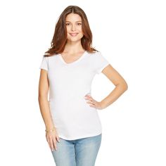 Maternity V-Neck Short Sleeve Tee - Winter White Xxl - Liz Lange for Target, Infant Girl's