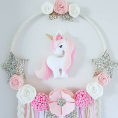 "37 Likes, 3 Comments - Enchanted Felt Shop (@enchanted_felt_shop) on Instagram: ""Unicorn Dream Catcher In Pinks white and gold  I think this one is my favourite hanging unicorn…"""