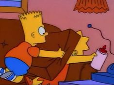 """"""" """"Ah, Cranberry sauce a-la Bart!"""" Lisa kissing Bart after accepting his apology Simpsons Frases, Simpsons Quotes, The Simpsons, Goat Cartoon, Cartoon Memes, Cartoons, Sad Pictures, Reaction Pictures, Simpson Tumblr"""