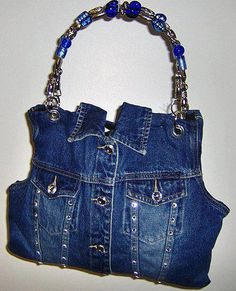 Repurposed denim jacket into a great bag!  No link/DIY.