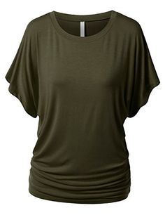 URBANCLEO Womens Short Kimono Sleeve Boat Neck Dolman Drape Top Shirts -- You can get additional details at the image link.