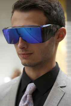 What do you think of these über-over-sized futuristic shades? WGSN Street Shot, Paris Men's Fashion Week, Spring/Summer 2014