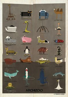 """© Federico Babina An architectural """"Paraidolia,"""" Federico Babinahas uncaged the ARCHIZOO. Recalling images from his childhood, Babina has imagined"""