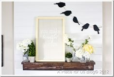 Just wanted to share with you my Spring mantel! It doesn't look to different from my mantel I shared with you ago last month when I did my pallet art! But I did add some cute chalkboard birds that ...