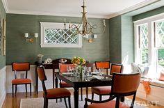 Серо-оранжевый интерьер столовой